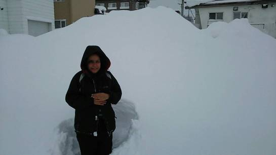 A normal snowy day in Iwamizawa - and yes - the snow gets that high and even higher!